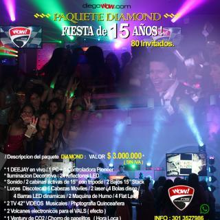 Fiesta de 15 años - Paquete Diamond - 80 invitados