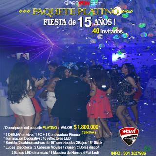 Fiesta de 15 años - Paquete Platino - 40 invitados